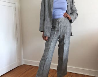 Vintage 90s Gray Linen Pinstripe Suit / Relaxed Fit Slouchy  Pant Suit