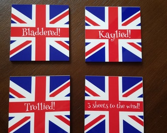 British Union Jack wooden coasters with UK drunken phrases, Bladdered, Kaylied, Trollied & 3 sheets to the wind