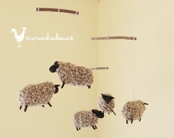Sheep Mobile,Baby Mobile Sheep,Natural Nursery Sheep