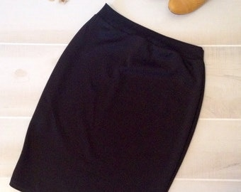Women's stretchy knit black pencil skirt, fitted high waist knee length office work skirt, high waisted skirt
