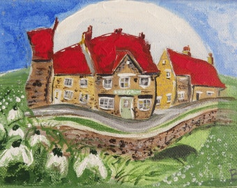 Helmsley Village Canvas Original Painting, Helmsley Art Gallery, North Yorkshire, Stone Cottages, Yorkshire Village