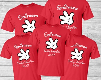 Disney Family Vacation Shirt - Mickey Mouse Glove - Personalized family name