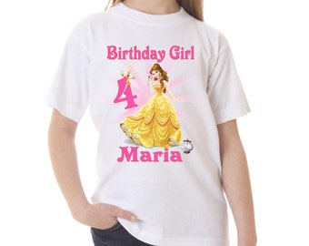 Belle Beauty and the Beast Birthday Shirt Peronalized