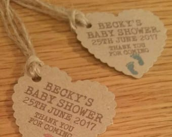 10 X PERSONALISED BABY SHOWER,  tags, Lables,