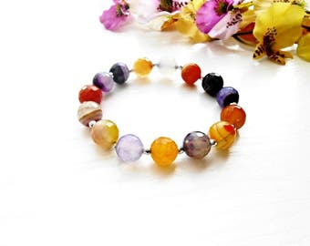 Agate Bracelet Purple Orange Gemstone Beaded Universal Healing Stone Crystal Chakra Yoga Meditation Zen Boho Bohemian Violet Art Jewelry
