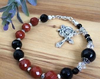 Red Jasper and Black Onyx gemstone Rosary Bracelet