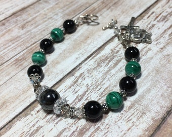 Malachite and Black Onyx Gemstone Rosary Bracelet, Christian Jewelry Bracelet