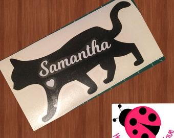 Cat Silhouette Decal - Sticker - Vinyl - Pet Lover - Cat Lover - I Love My Cat - Car Decal - Laptop Decal