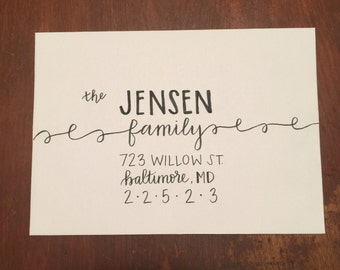 Hand Lettered Envelopes / Wedding Calligraphy - Curly Style