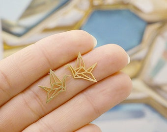 Earrings gold plated 18K jewellery modern origami bird Birdy