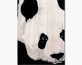 Handmade wooden pallet with PANDA picture/Handmade PANDA made of recycled wooden pallets