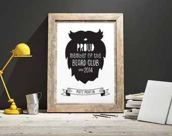 Personalised Proud Member of the Beard Club Framed Print, Father's Day Print, Gift for Dad, Beard and Moustache, Gift for Him, Print for Him