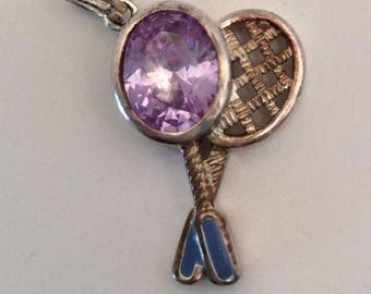 Enameled Tennis Rackets Vintage Sterling Silver Charm with Purple Stone for Bracelet