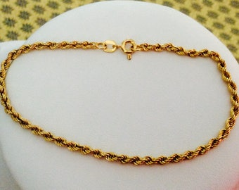 8K Yellow Gold Rope Bracelet