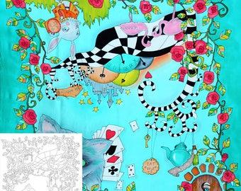 "Template for batik ""Alisa in Wonderland"", Draft for Batik (shawl 35x35 in.), painting on silk, silk painting basics, cold batik technique"