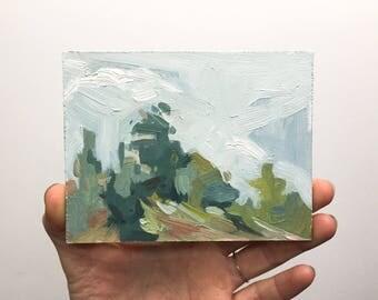 Original oil sketch, Hazy Hillside, Trees, Clouds