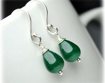 Sterling Silver Earrings, Natural Jade Earrings, Green Earrings, Small Dangle Earrings, Drop Earrings, Handmade Jewelry, Wife Gift For Mom