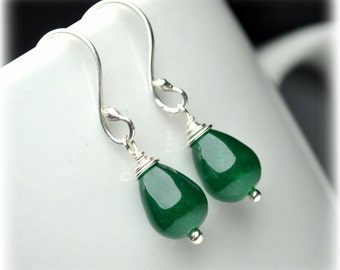 Natural Jade Earrings  Sterling Silver Green Earrings Small Dangle Earrings Handmade Jewelry Wedding Drop earrings Wanderlust gift for women