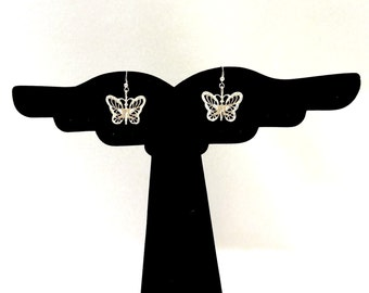 Butterfly 925 Sterling Silver Dangling Earrings