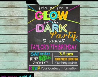 Glow in the Dark Neon Retro 80's Birthday Party Invitations Invites ~ We Print and Mail to You