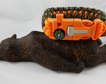 5in1 US Paracord King Cobra Survival Bracelet Firestarter, Compass, Whistle, Cutter/Scraper & US Paracord 550lb 7Strand