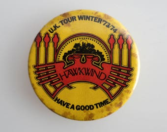 """Hawkwind - UK Tour 73-74 - 1.5"""" Pin Back Button Badge"""