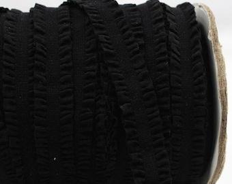 Black Ruffle Frilly FOE Fold Over Elastic 16mm per Yard