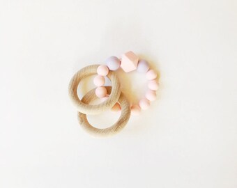Baby silicone teething ring rattle
