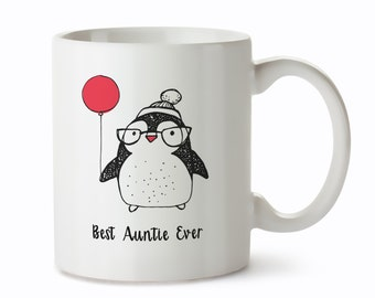 Gifts for Aunt - Best Auntie Ever - Aunt Mug - New Auntie Gifts - Best Auntie Gifts - Aunt Coffee Mugs - Penguin Design Coffee Cup