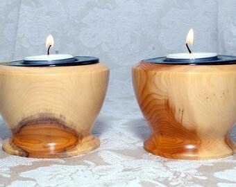 Tee light holders / Tea light holders / Wooden tee light holders / turned tee light holders / Candle holders