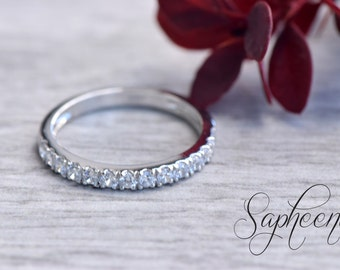 White Half Eternity Wedding Band in 14k White Gold, Sapphire Wedding Band,Moissanite Eternity Band,Stacking Ring, Stackable Band by Sapheena