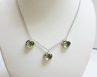 Prasiolite Necklace, Green stone necklace, Silver Necklace