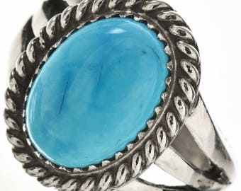 Blue Turquoise Silver Ladies Navajo Ring Southwest Style