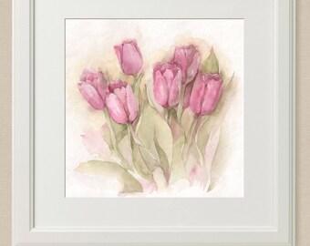 Original watercolor, tulips 20 x 20 cm