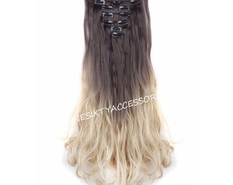 "Ombre Hair Extensions 24"" Brown to Ash Blonde Ombre Clip In Extensions Long Wavy Curly Real Extensions Hair Weave Wigs TOP QUALITY #H6"