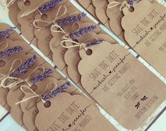 Rustic Save The Date, Vintage Lavender and twine tag