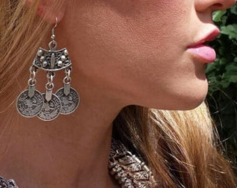Boho Gypsy silver mood earrings