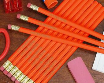 Personalized Engraved Orange School Pencils Custom Name Gift