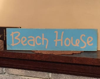Beach house distressed wooden sign