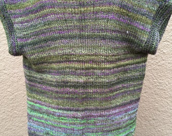 Hand knit with Hand spun yarn open front Cardigan in greens and purples
