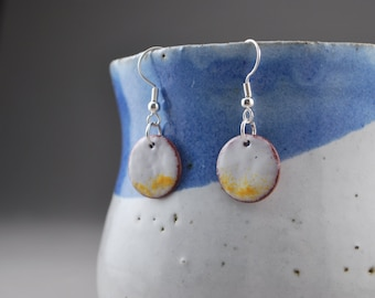 White and Yellow Circle Enameled Earrings