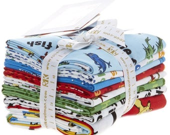 Dr. Seuss One Fish Two Fish Fat Quarter Bundle 7 fat quarters + 1 panel Robert Kaufman