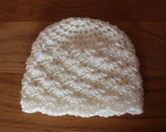 Crochet Shell Stitch Baby Hat - Newborn