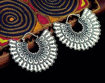 Silver plated jungle earrings/ tribal style earrings