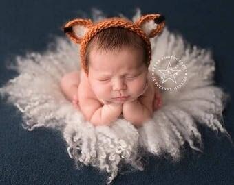 New Born Fox Bonnet, Knitted Fox Bonnet Prop