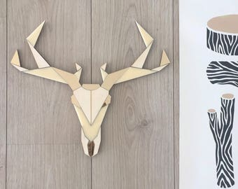Rustic Deer wall decor.deer head wall decor,deer head decor,deer decorations,deer head wall art,deer decor,Deer Ornaments, tribal art decor