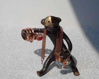 Vintage Monkey Bronze Figure, Walter Bosse Figurine, Monkey Brass  Jewelry display, Brass Ring Holder Napkin holder