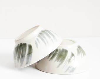 two dark green brushed bowls, small, handmade, wheel thrown, ceramic, pottery, stoneware, glazed