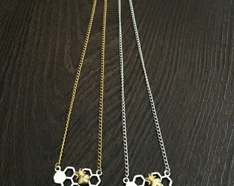 Silver & Gold plated Chain Necklace, Bee Hive Charm, Choker Necklace
