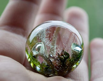 Terrarium necklace Forest in sphere Woodland necklace  Botanical resin necklace Flower jewelry Sphere pendant Nature Jewelry